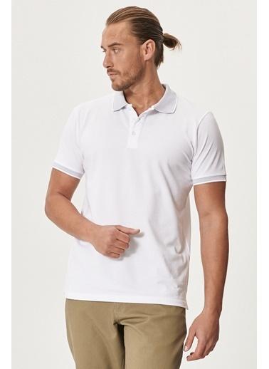 Altınyıldız Classics Düğmeli Polo Yaka Cepsiz Slim Fit Dar Kesim Düz Tişört 4A4820200047 Beyaz